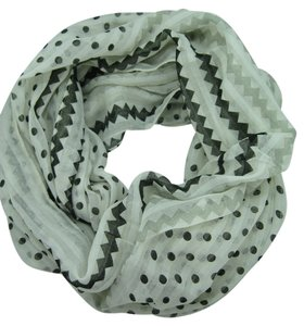 Unknown Polka Dot and Chevron White Infinity Scarf