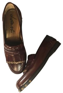 Lanvin Wine Burgundy Calf Studs Loafer Wine Red Flats