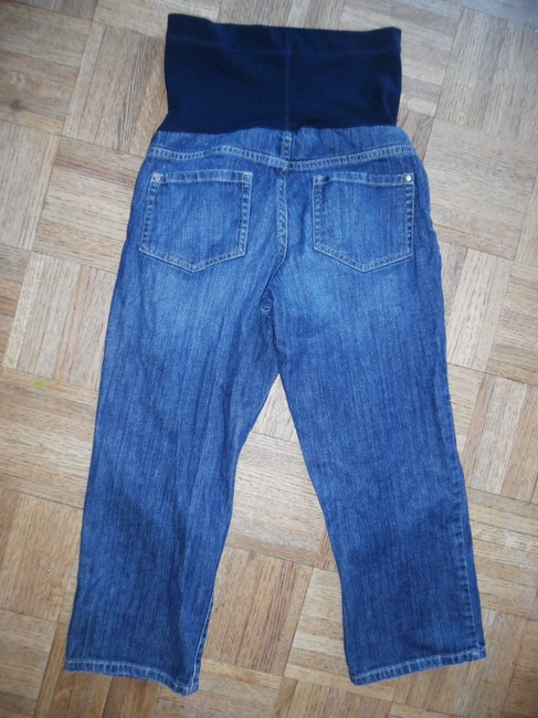 Liz Lange Maternity for Target Blue Faded Distressed Paneled Cropped Capris Jeans