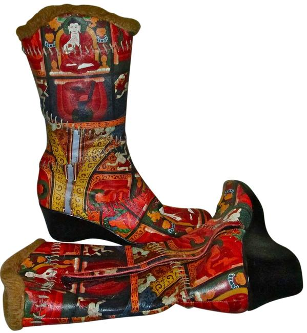 Item - Multi Color Printed Leather Boots/Booties Size US 9 Regular (M, B)