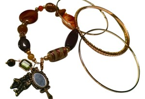 New Handmade Charm Bracelet W/ Bangles Set 4 Piece Brown Gold J1215