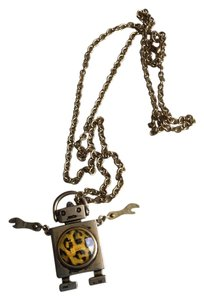 Cute Metal Robot Tech Necklace * Leopard Design in Yellow & Black * Moveable Arms