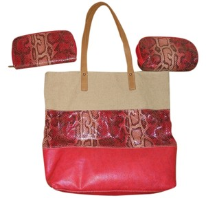 Ann Taylor LOFT Set Man Made Snakeskin Tote in tan, coral multi