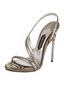 Tom Ford Metallic Snakeskin Silver Pumps