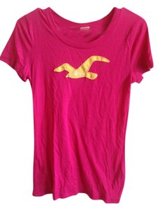 Hollister Logo Casual Cotton T Shirt Pink