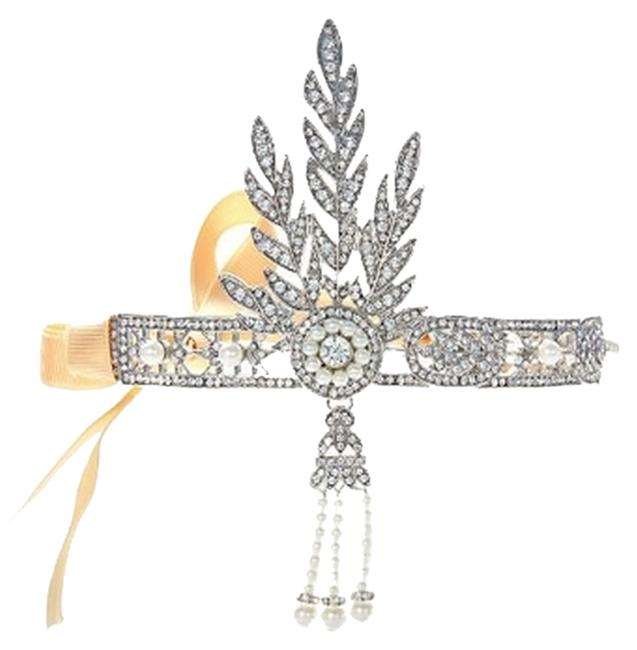 Item - Silver Pearl Rhinestone and Yellow Great Gatsby-inspired Leaf Filagree Headband with Simulated Tone. Hair Accessory