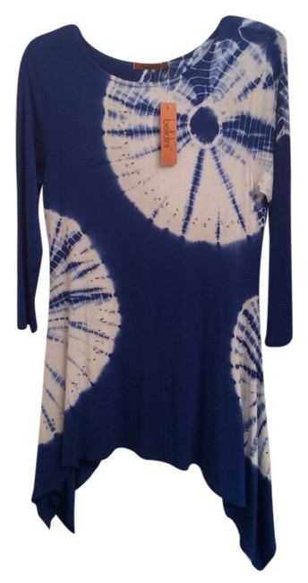 Belldini Jean Spandex Casual Navy Long Top Royal Blue and White