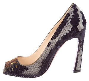 Prada Sequin Paillete Olive-Green Pumps