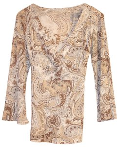 New York & Company Top Brown Paisley