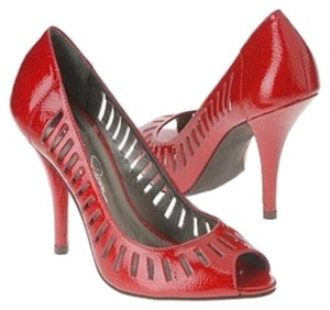 Jessica Simpson Patent Leather Peep Toe Red Pumps