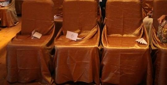 Gold 75 Chair Covers Crinkled Taffeta Ceremony Decoration