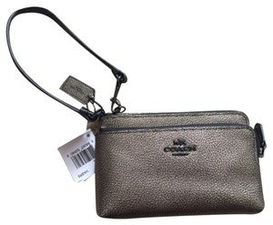 Coach Coach Metallic Leather Double L-Zip Wristlet