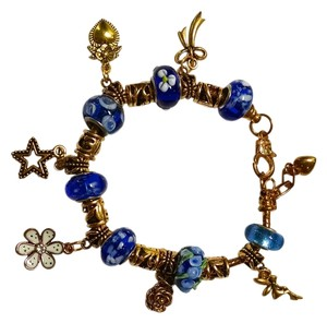 New European Charm Bracelet 19 Removable Charms Gold J1218