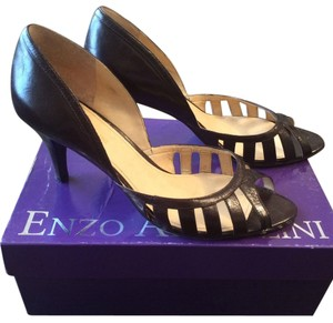 Enzo Angiolini Peep Toe D'orsay Brown Pumps