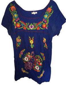 Urban Outfitters short dress blue Mexican Embroidery Bright Puebla on Tradesy