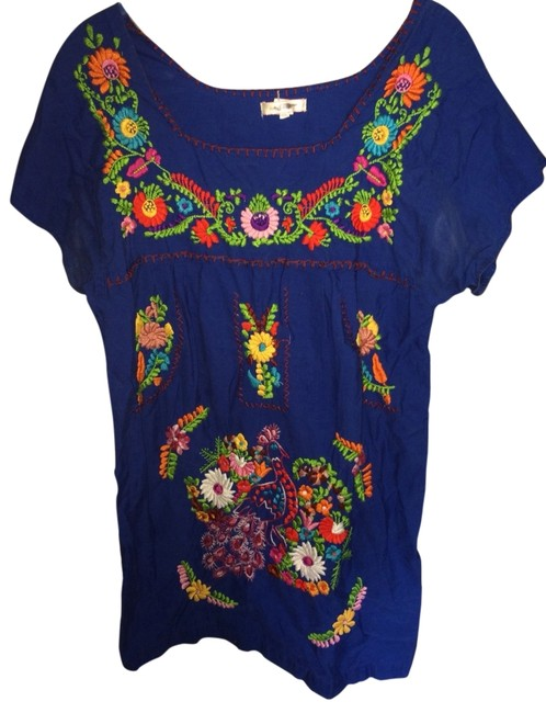 Preload https://item2.tradesy.com/images/urban-outfitters-blue-mexican-embroidery-bright-puebla-mini-short-casual-dress-size-8-m-546736-0-1.jpg?width=400&height=650
