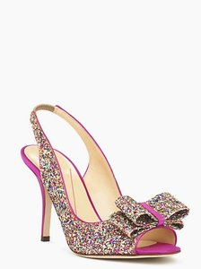 Kate Spade Charm Glitter Bow Slingback Multi Color Pumps Formal Size US 9.5 Regular (M, B)