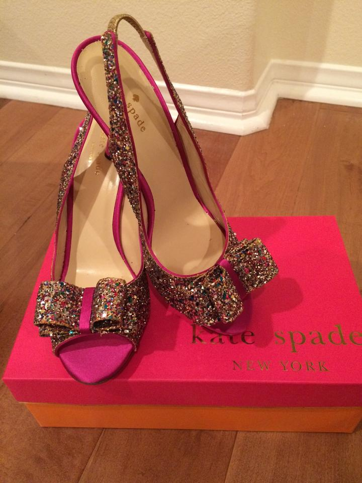 Glitter Slingback Color Kate Bow Spade Multi Formal Charm Pumps AqwPEwf