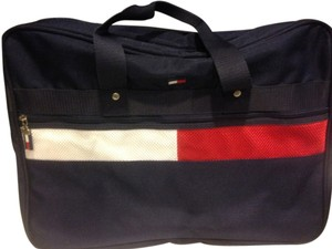 Tommy Hilfiger Adjustable Strap Excellent Condition Approved Carry On Luggage ! Navy Blue, Red & White Travel Bag
