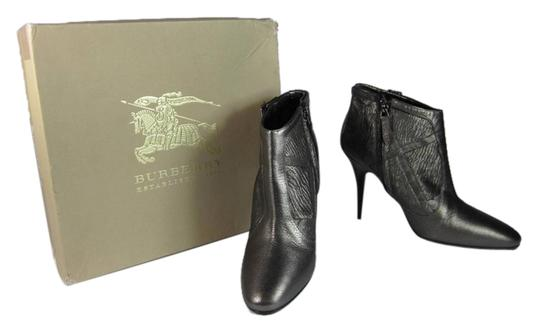 Burberry Leather Nova Check Short Ankle Bronze Boots
