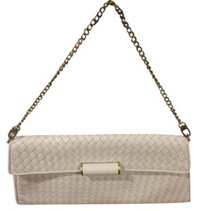 BCBGMAXAZRIA Leather White with Gold hardware Clutch