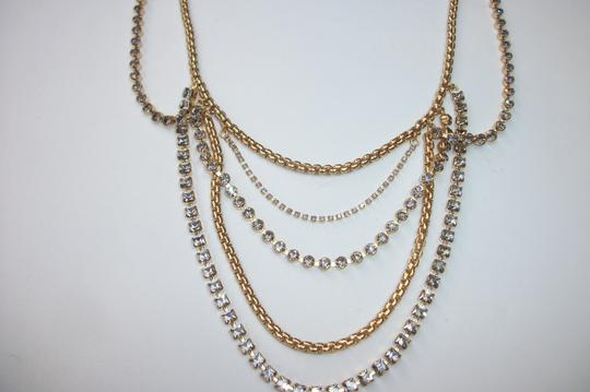 Fossil Fossil Brand Multi Chain Crystals Drape Gold Tone Statement Necklace