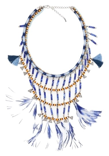 Zara Zara 2015 blue stone and feather statement necklace