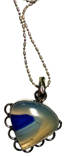 Other New Agate Gemstone Pendant Necklace Blue White Stone 925 Silver Chain J1221