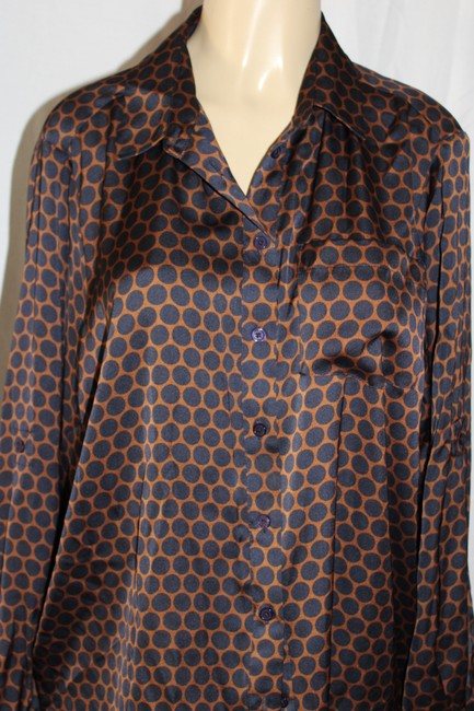 Michael Kors Button Down Shirt brown/black polka dots.