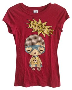 Harajuku Lovers Graphic Cotton T Shirt Red
