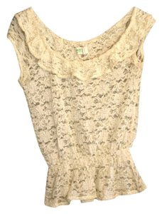 Dream out loud by Selena Gomez Lace Wide Neck Top Cream