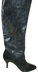 Gianni Bini Knee High Leather Charcoal Black Boots