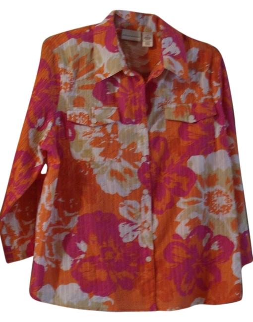 Alfred Dunner Button Down Shirt white with orange, pink and some tan