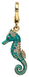Juicy Couture Juicy Couture Seahorse Teal Blue Clip Charm Boxed Crystals Gold Tone Sea Horse