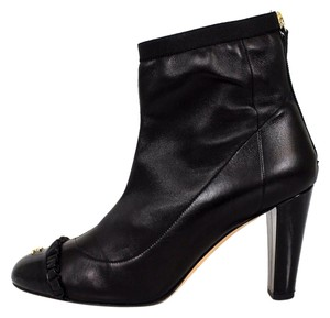 Chanel Leather Gold Logo Heels Black Boots