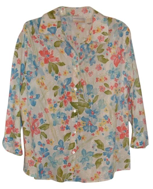Alfred Dunner Button Down Shirt white with pink, coral blue yellow and green flowers