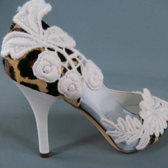 Dolce&Gabbana Crochet Lace Pony Hair Textured Clear White Pumps