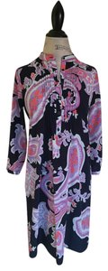 Gap short dress Shift Mandarin Collar Paisley Business Navy on Tradesy