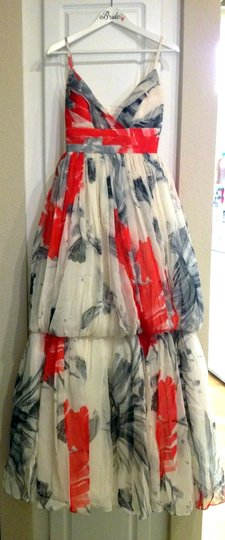 BHLDN Ivory Coral Red and Grey Silk Zinnia Gown Destination Wedding Dress Size 2 (XS) Image 4