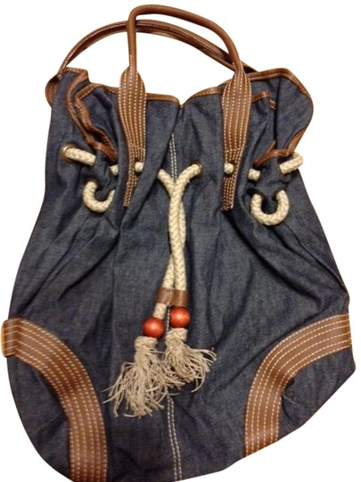 MISS JUNE Slouchy Denim Hobo Drawstring Tassel Satchel in Blue