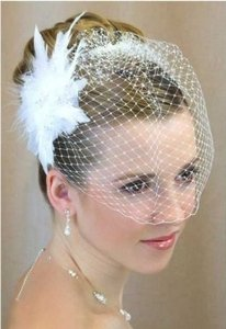 White Or Ivory Birdcage With Feather Fascinator Bridal Veil