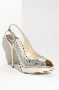 Jimmy Choo Silver Nova Peeptoe Slingbacks Wedding Shoes