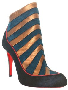 Christian Louboutin Amor Pony Hair Suede Red Ankle 35.5 5.5 Black, Red, Green Boots