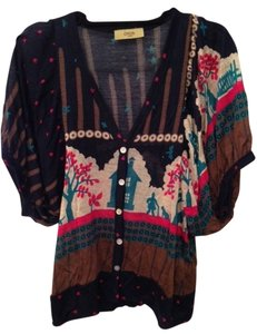 Orion London Print Cardigan Tunic Button Down Shirt Navy/pink/beige