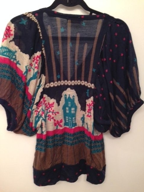 Orion London Print Cardigan Tunic Scenic Pattern Button Down Shirt Navy/pink/beige
