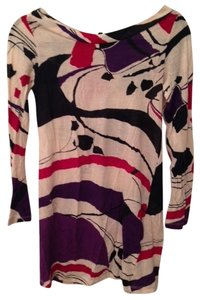 French Connection short dress White/Purple/Red/Black Print Tee-shirt Tunic on Tradesy