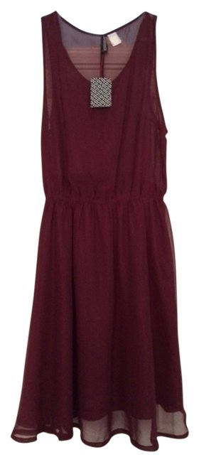 Item - Burgundy Above Knee Night Out Dress Size 6 (S)