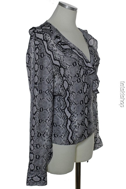 MICHAEL Michael Kors Silk Wrap Phyton Print Top Gray