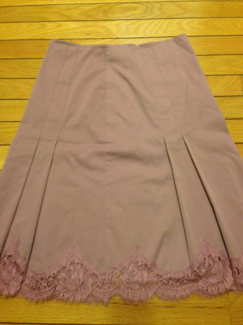 Rebecca Taylor Pleated Lace Trim Skirt Lilac