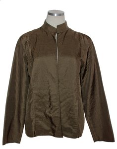 Eileen Fisher Open Front 100% Silk Ribbed Brown Jacket